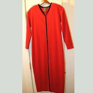 vintage Carole Little Red Ribbed Knit Wool Blend